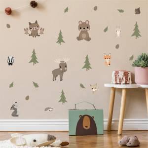 Wallstickers med skogens djur - magiska barnrum