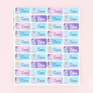 Färgglada namnlappar med Disney prinsessor