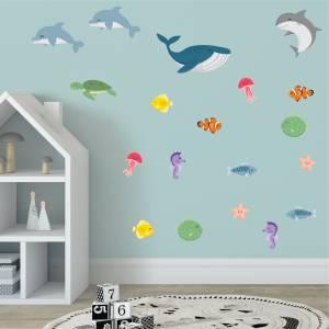 Coola wallstickers med fiskar och sjödjur